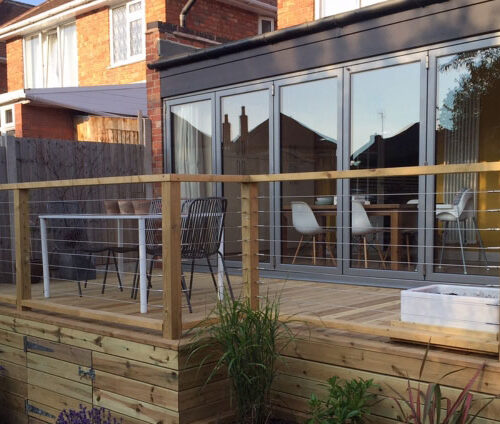 Origin Aluminium Bi-folding doors for a Wilford home extension
